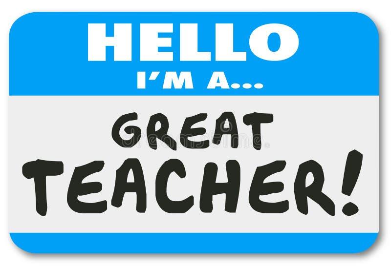 Είμαι μια μεγάλη εκμάθηση σχολικής εκπαίδευσης ετικεττών ονόματος δασκάλων διανυσματική απεικόνιση