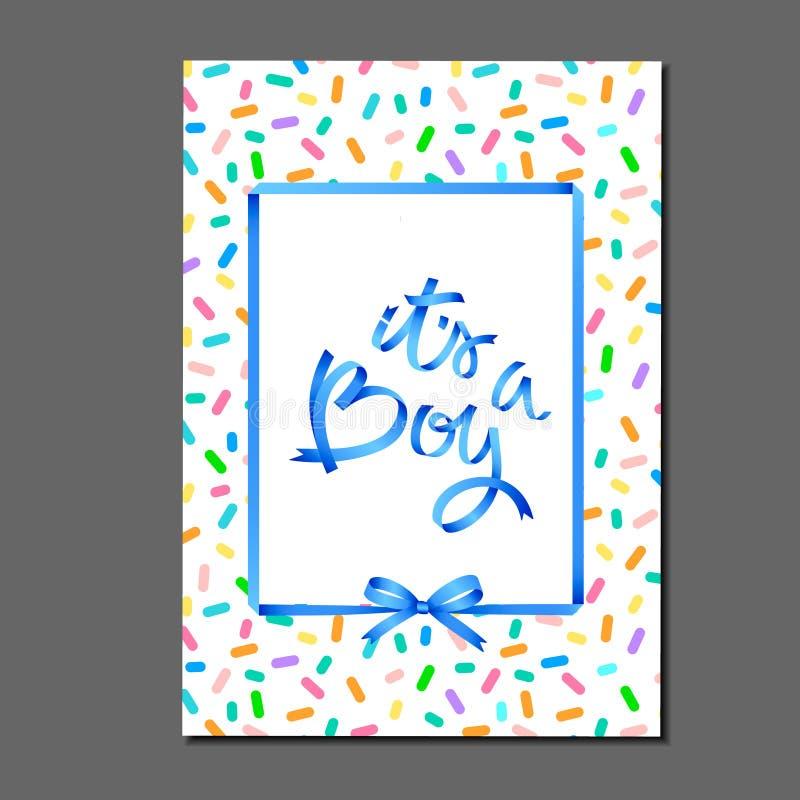 Είναι αγόρι γράμματα σε μοτίβο κέικ γενεθλίων Κορδέλες και τόνοι Ευχετήρια κάρτα, πρόσκληση, αφίσα, ετικέτα, αυτοκόλλητο κ.λπ. ελεύθερη απεικόνιση δικαιώματος