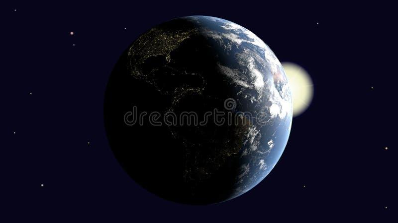 Είναι ορατή Αμερική στη γη που φωτίζεται από τον ήλιο περιστρέφεται γύρω από τον άξονά του στη διαστημική, τρισδιάστατη απόδοση,  διανυσματική απεικόνιση