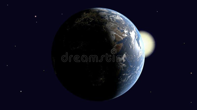 Είναι ορατή Αφρική και η Ευρώπη στη γη που φωτίζεται από τον ήλιο περιστρέφεται γύρω από τον άξονά της στη διαστημική, τρισδιάστα απεικόνιση αποθεμάτων