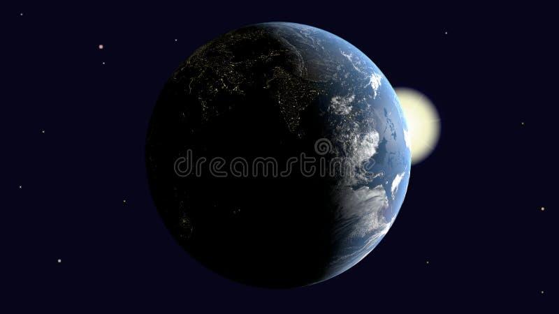 Είναι ορατή Ινδία και η αραβική χερσόνησος, Αφρική στη γη που φωτίζεται από τον ήλιο περιστρέφεται γύρω από τον άξονά της στο δια ελεύθερη απεικόνιση δικαιώματος