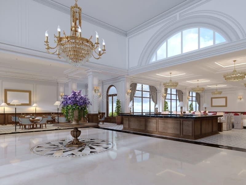 Είσοδος πολυτέλειας στο κλασικό ξενοδοχείο με μια μεγάλη ανθοδέσμη των λουλουδιών και ενός μεγάλου χρυσού πολυελαίου διανυσματική απεικόνιση