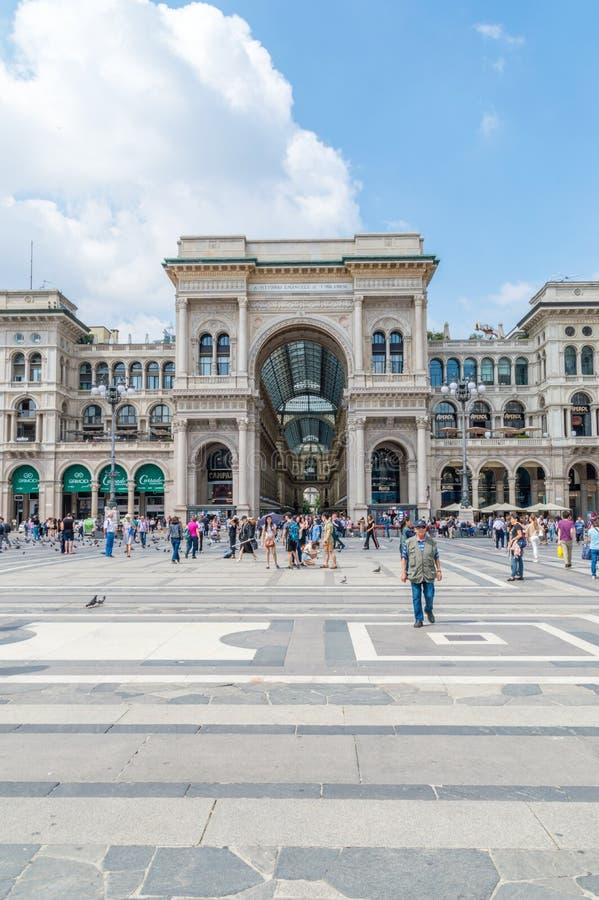 Είσοδος σε Galleria Vittorio Emanuele ΙΙ στοκ φωτογραφία