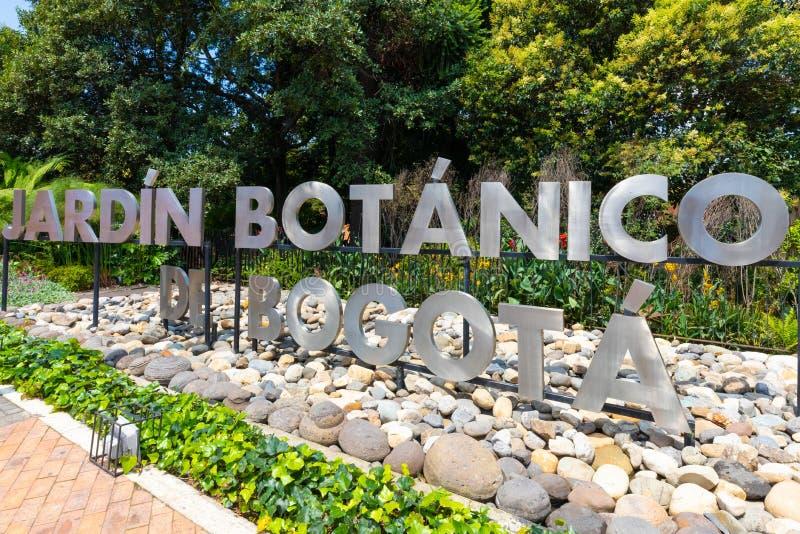 Είσοδος σημαδιών βοτανικών κήπων της Μπογκοτά στοκ εικόνα με δικαίωμα ελεύθερης χρήσης