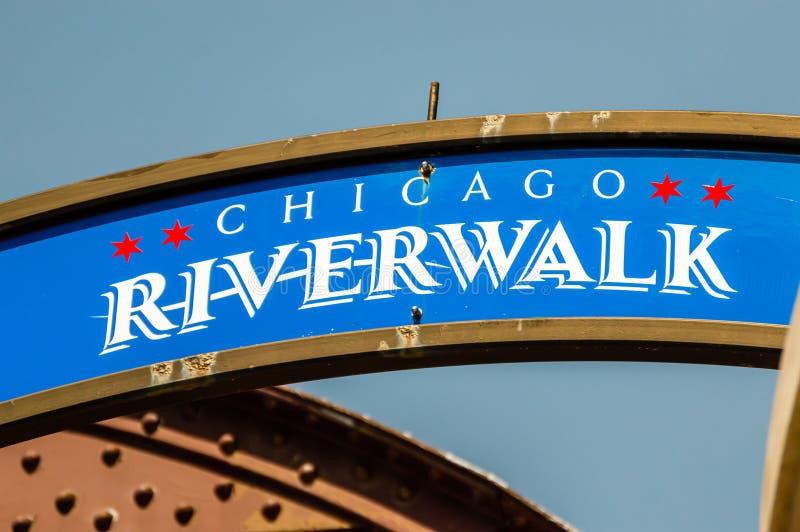 Είσοδος σημαδιών του Σικάγου Riverwalk Πληροφορίες στοκ φωτογραφίες με δικαίωμα ελεύθερης χρήσης