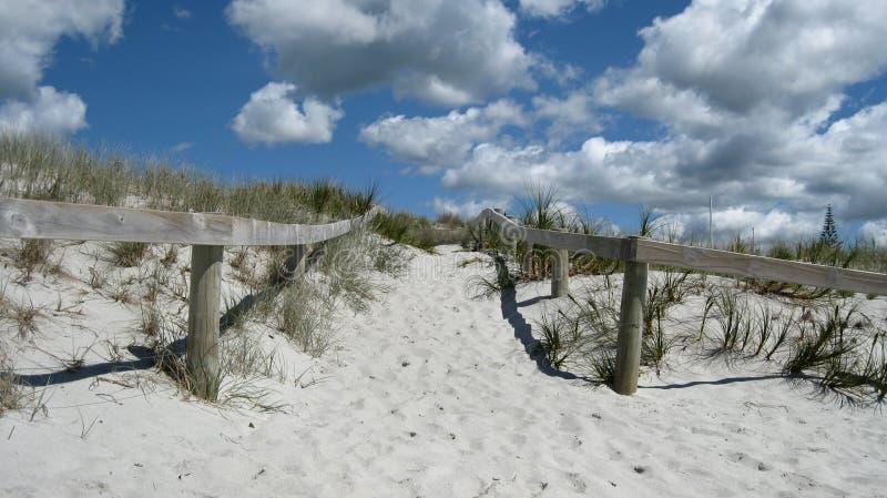 Είσοδος στην παραλία με τον ξύλινο φράκτη στοκ εικόνες με δικαίωμα ελεύθερης χρήσης