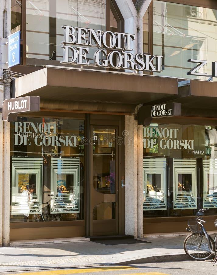 Είσοδος στο Benoit de Gorski κατάστημα στη Γενεύη, Ελβετία στοκ εικόνες