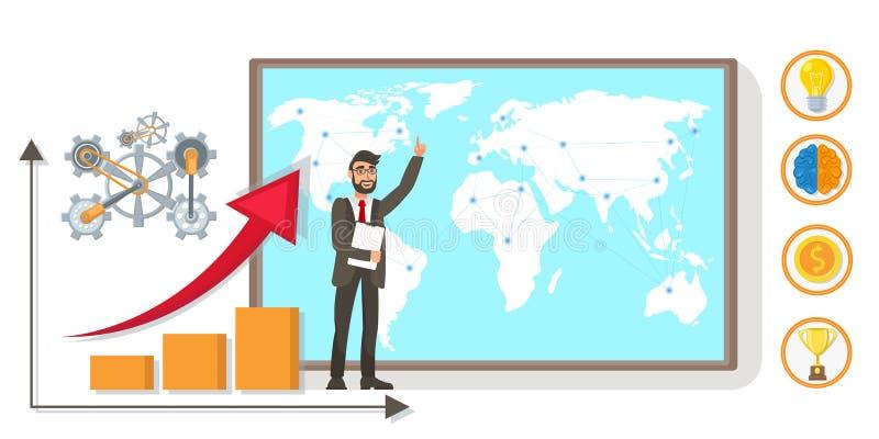 Είσοδος της παγκόσμιας αγοράς, σφαιρική απεικόνιση εμπορικών συναλλαγών διανυσματική απεικόνιση