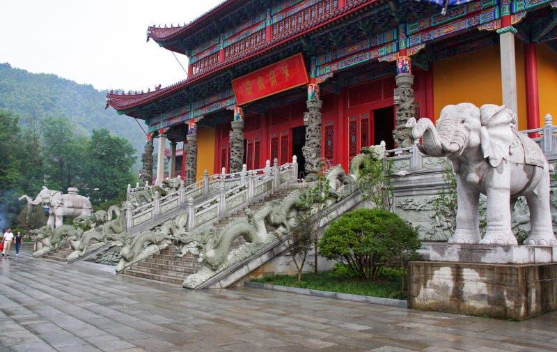 Είσοδος σε έναν βουδιστικό ναό σε Jiuhuashan, Κίνα στοκ φωτογραφίες με δικαίωμα ελεύθερης χρήσης