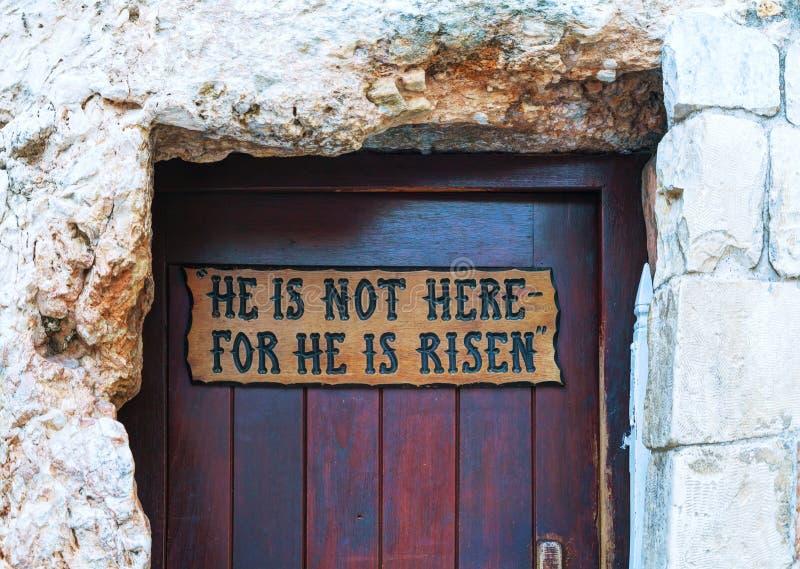 Είσοδος στον τάφο κήπων στην Ιερουσαλήμ στοκ εικόνες