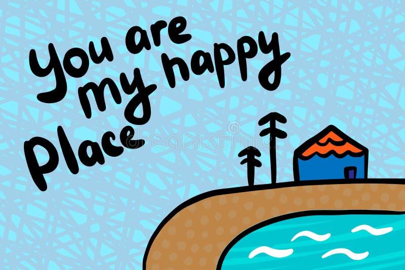 Είστε η ευτυχής συρμένη χέρι διανυσματική απεικόνιση θέσεών μου στο ύφος κινούμενων σχεδίων Δέντρα πεύκων λιμνών σπιτιών απεικόνιση αποθεμάτων