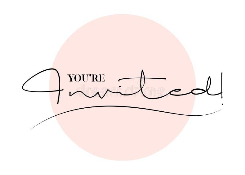 Είστε προσκεκλημένη διανυσματική συρμένη χέρι εγγραφή Γραμματόσημο για τον τίτλο διανυσματική απεικόνιση