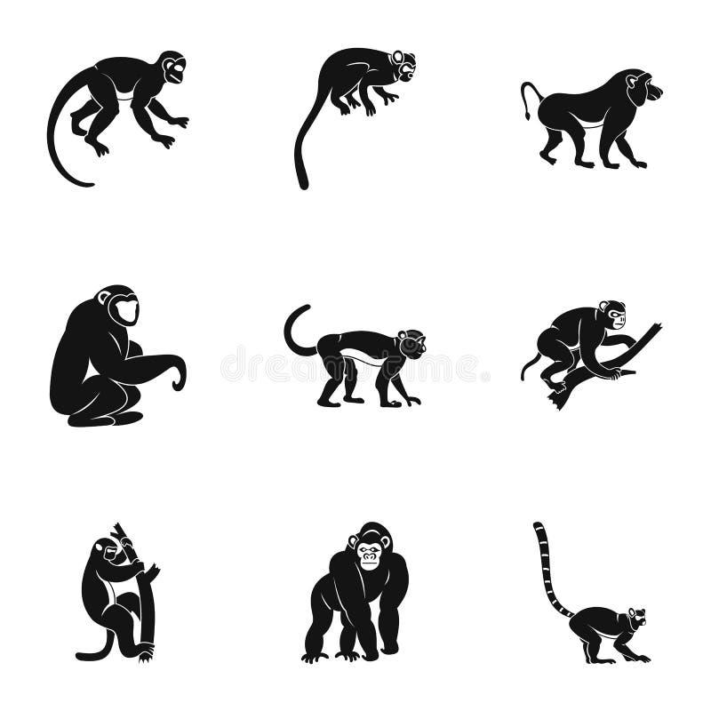 Είδη συνόλου εικονιδίων πιθήκων, απλό ύφος διανυσματική απεικόνιση