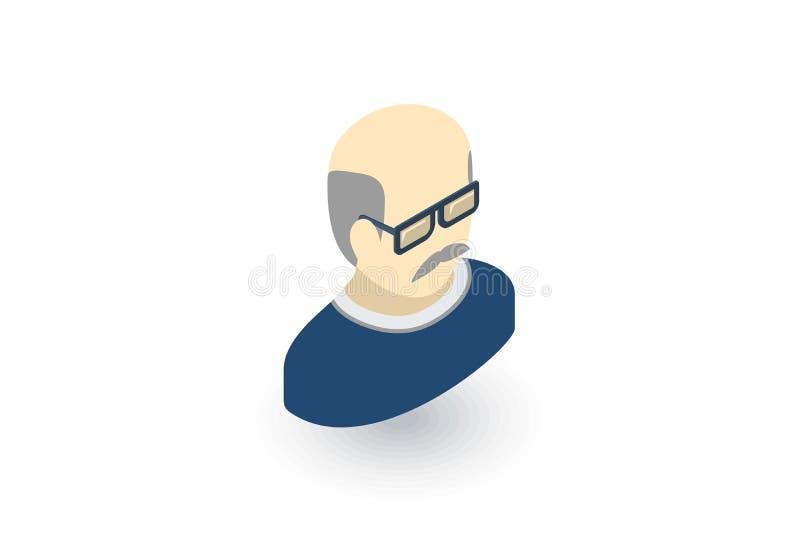 Είδωλο, πατέρας, ενήλικο isometric επίπεδο εικονίδιο ατόμων τρισδιάστατο διάνυσμα ελεύθερη απεικόνιση δικαιώματος