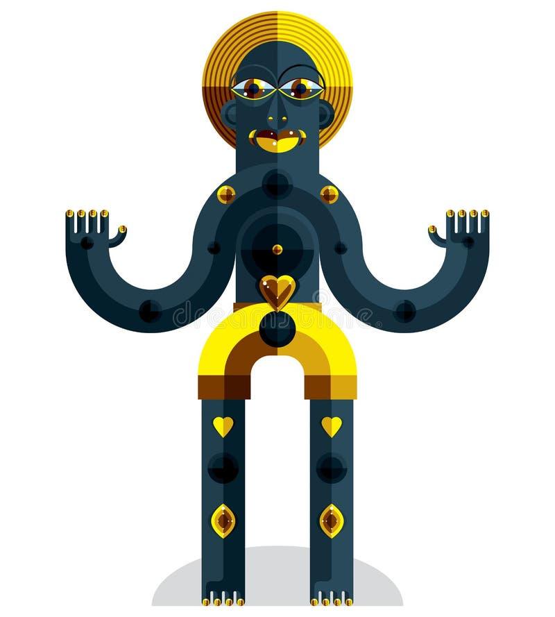 Είδωλο πρωτοπορίας, ζωηρόχρωμο σχέδιο που δημιουργείται στο ύφος κυβισμού Mo ελεύθερη απεικόνιση δικαιώματος