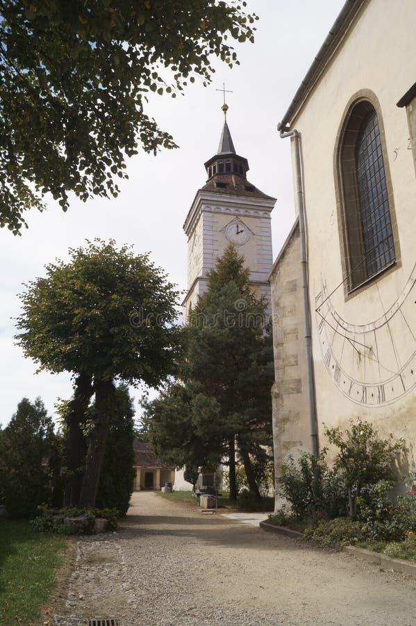 Εβαγγελικός-λουθηρανική εκκλησία ST Bartholomew και ηλιακό ρολόι Biserica Sfantul Bartolomeu, Brasov, Ρουμανία στοκ εικόνα με δικαίωμα ελεύθερης χρήσης
