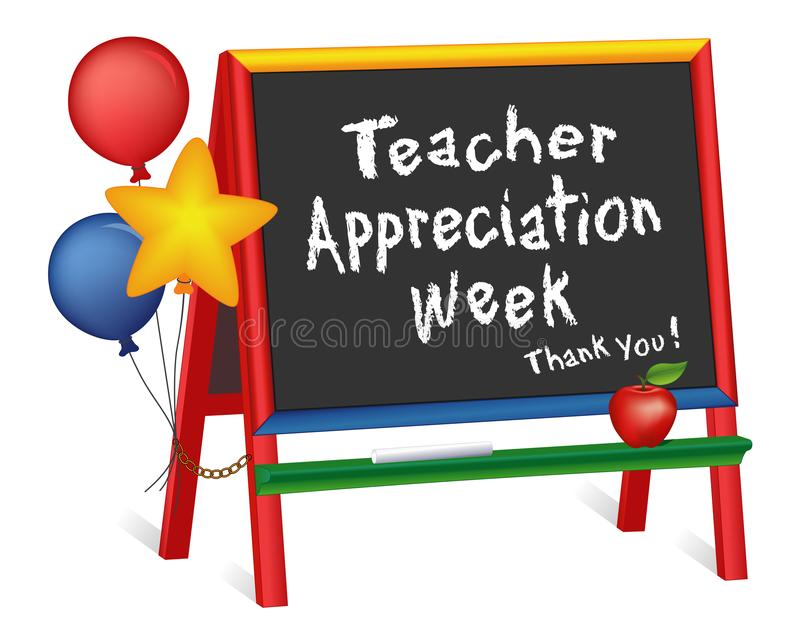 Εβδομάδα εκτίμησης δασκάλων, αστέρια και μπαλόνια, Easel πινάκων κιμωλίας για τα παιδιά απεικόνιση αποθεμάτων