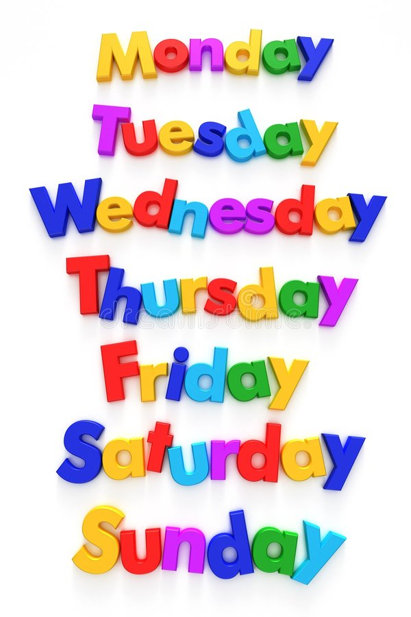 εβδομάδα μαγνητών επιστολών ημερών διανυσματική απεικόνιση