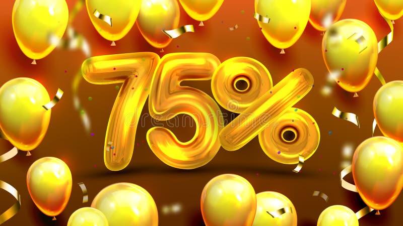 Εβδομήντα πέντε τοις εκατό ή ειδικό διάνυσμα προσφοράς 75 διανυσματική απεικόνιση