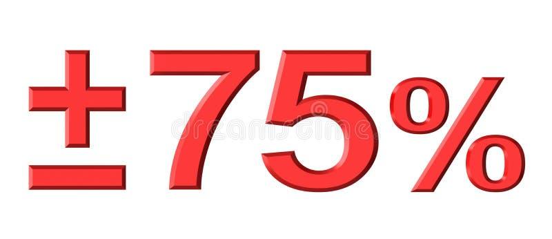 Εβδομήντα πέντε τοις εκατό διανυσματική απεικόνιση