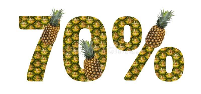 Εβδομήντα τοις εκατό που γίνονται από τον ανανά σε ένα άσπρο υπόβαθρο Τροπικά θερινά τρόφιμα διατροφής ανανά φρούτων ελεύθερη απεικόνιση δικαιώματος