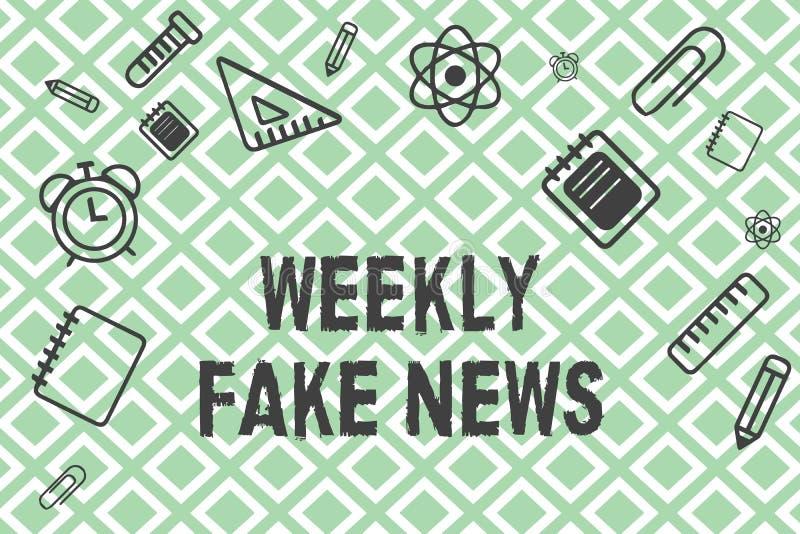 Εβδομαδιαίες πλαστές ειδήσεις κειμένων γραφής Έννοια που σημαίνει την ανακριβή, sensationalistic έκθεση που δημιουργείται για να  απεικόνιση αποθεμάτων