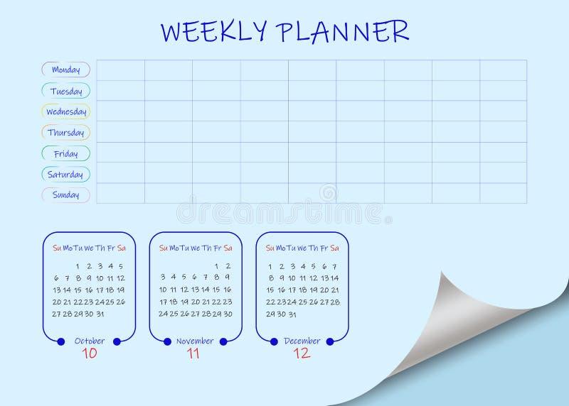 Εβδομαδιαίο ημερολόγιο σχολείου ή επιχειρήσεων για το τέταρτο τρίμην ελεύθερη απεικόνιση δικαιώματος