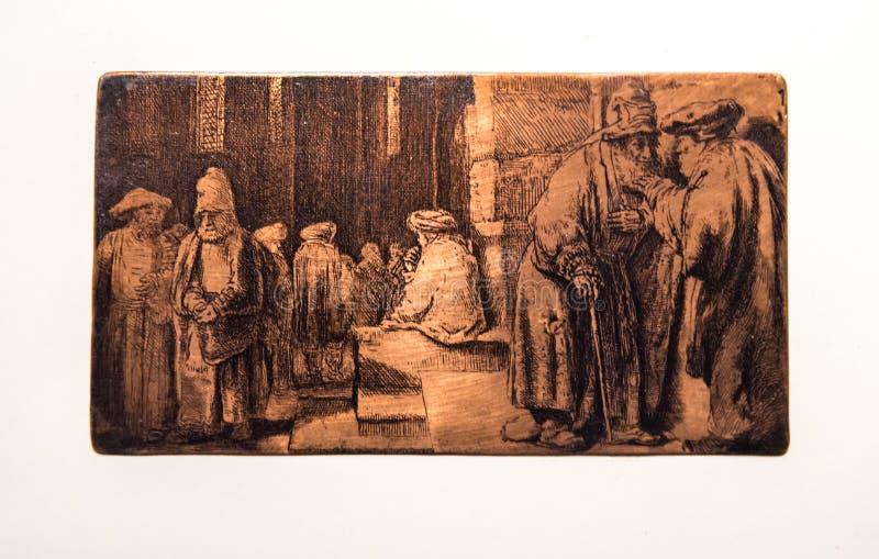 Εβραίοι σε μια συναγωγή, πιάτο, Rembrandt van Rijn στοκ φωτογραφίες με δικαίωμα ελεύθερης χρήσης