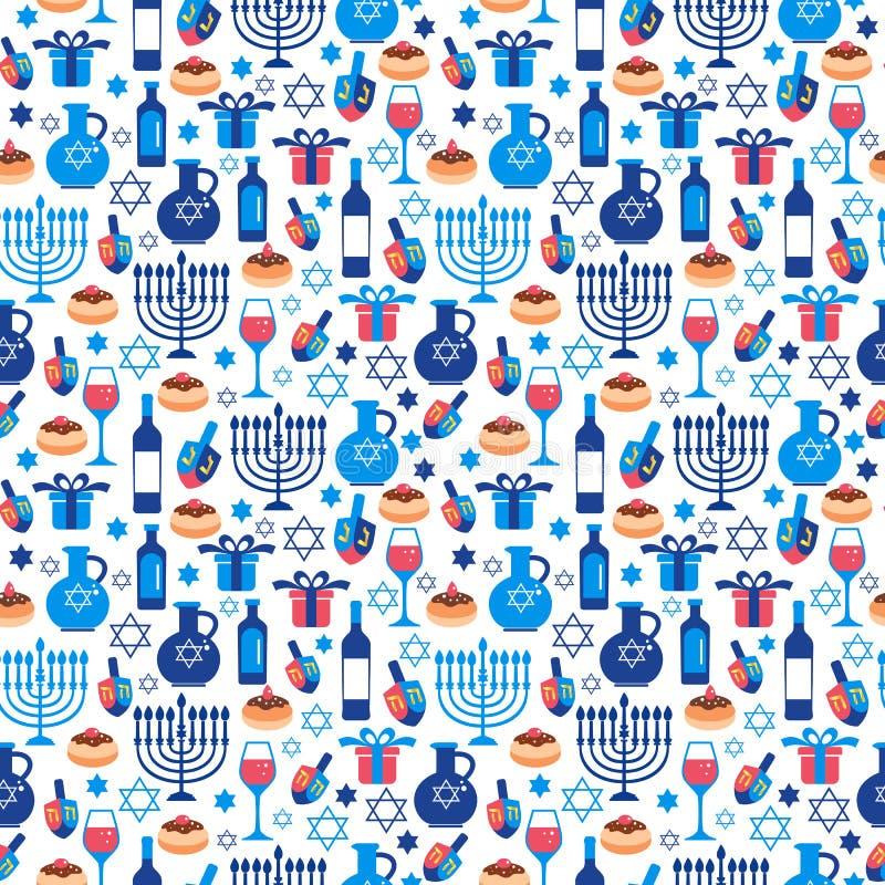 Εβραϊκά διακοπών Hanukkah σύμβολα Chanukah ευχετήριων καρτών παραδοσιακά πρότυπο άνευ ραφής ελεύθερη απεικόνιση δικαιώματος