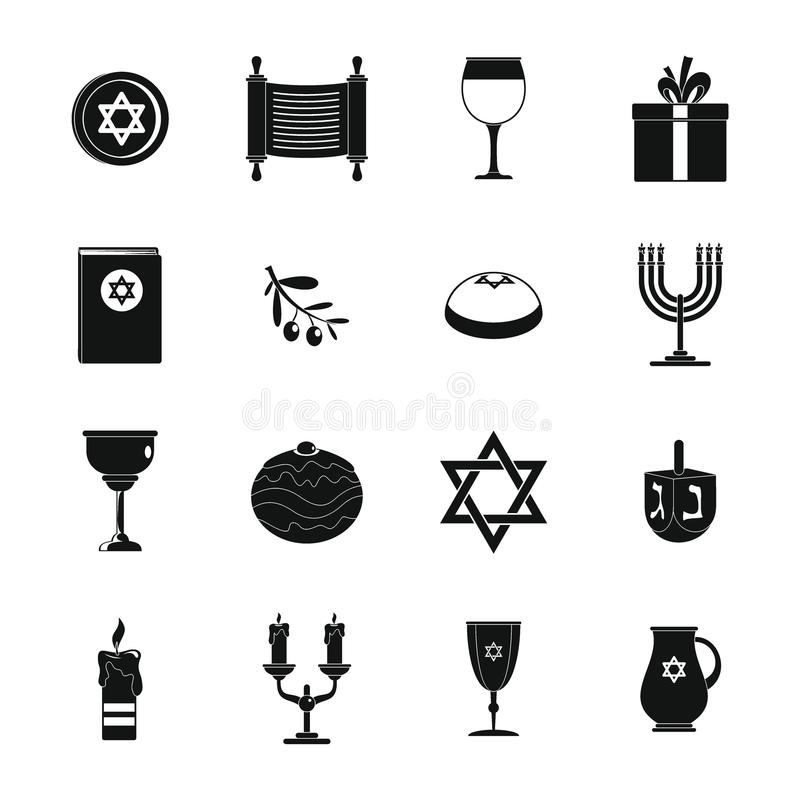 Εβραϊκά εικονίδια διακοπών Chanukah καθορισμένα, απλό ύφος διανυσματική απεικόνιση