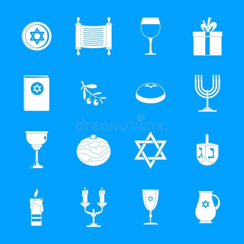 Εβραϊκά εικονίδια διακοπών Chanukah καθορισμένα, απλό ύφος απεικόνιση αποθεμάτων