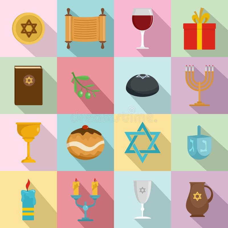 Εβραϊκά εικονίδια διακοπών Chanukah καθορισμένα, επίπεδο ύφος απεικόνιση αποθεμάτων