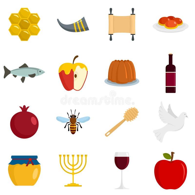 Εβραϊκά εικονίδια διακοπών Hashanah Rosh καθορισμένα, επίπεδο ύφος απεικόνιση αποθεμάτων