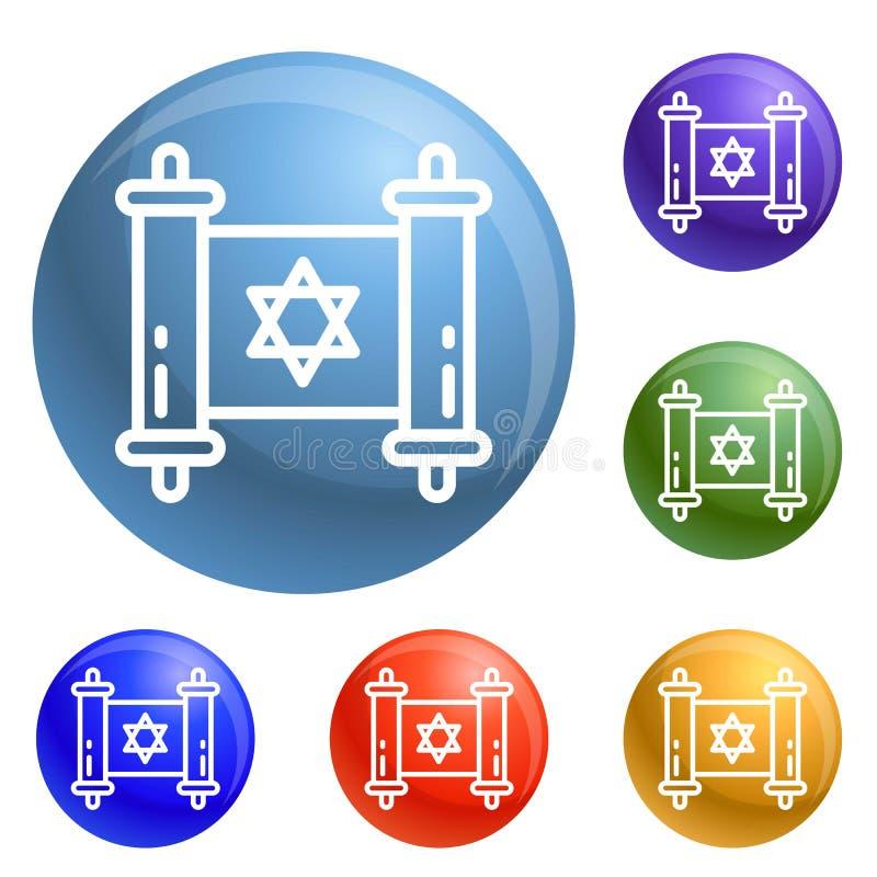 Εβραϊκά εικονίδια παπύρων καθορισμένα διανυσματικά ελεύθερη απεικόνιση δικαιώματος