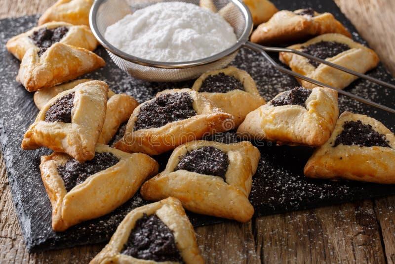 Εβραϊκά μπισκότα Hamantaschen με τους σπόρους παπαρουνών και την κονιοποιημένη ζάχαρη στοκ εικόνες