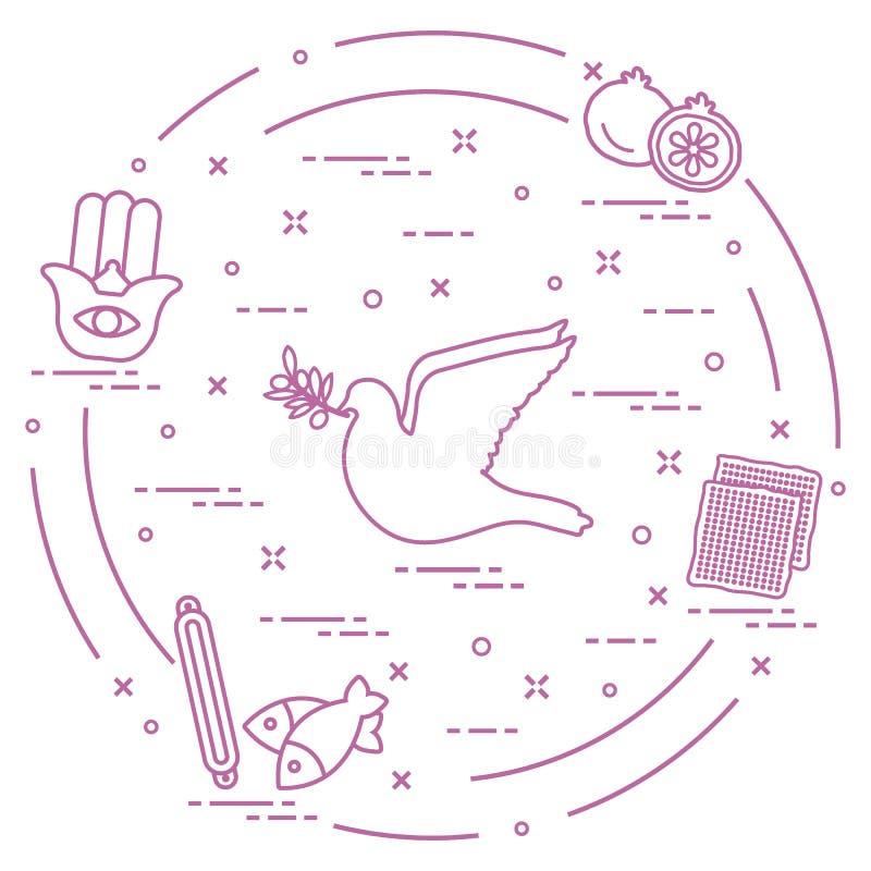 Εβραϊκά σύμβολα: περιστέρι, κλαδί ελιάς, ρόδι, matzah, ψάρια, hamsa, mezuzah απεικόνιση αποθεμάτων