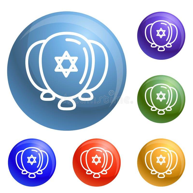 Εβραϊκά ballons εικονίδια καθορισμένα διανυσματικά απεικόνιση αποθεμάτων