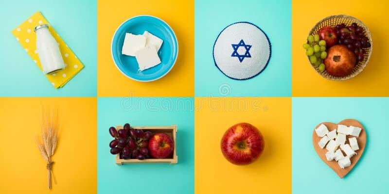 Εβραϊκή έννοια Shavuot διακοπών με το γάλα, τα γαλακτοκομικά προϊόντα και τα φρούτα στοκ φωτογραφία
