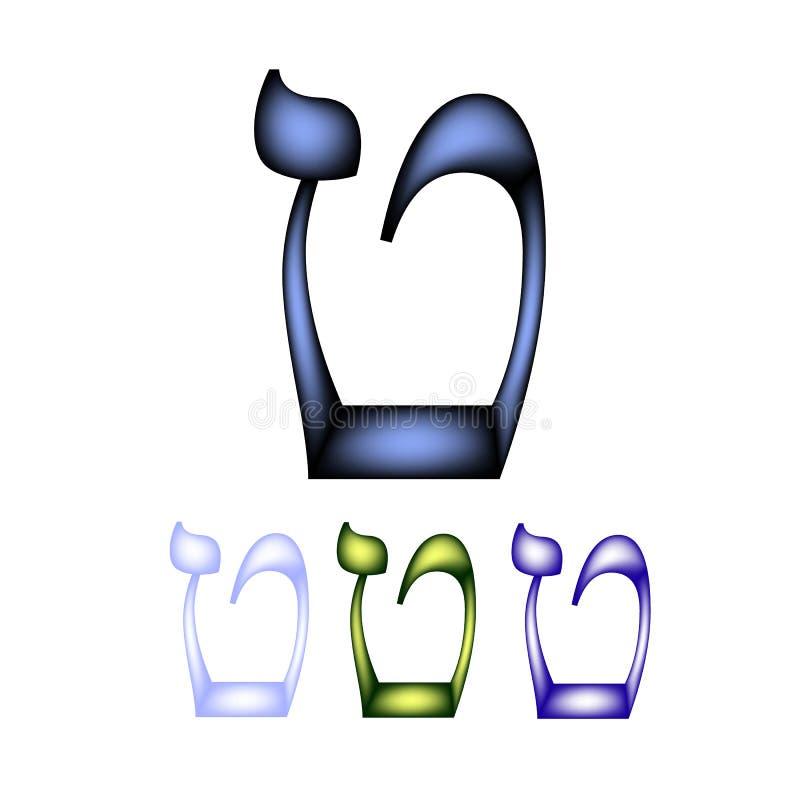 Εβραϊκή πηγή Η εβραϊκή γλώσσα Η επιστολή tet Διανυσματική απεικόνιση στο απομονωμένο υπόβαθρο διανυσματική απεικόνιση