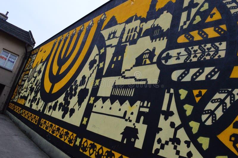 Εβραϊκή τοιχογραφία σε Kazimierz στην Κρακοβία στοκ φωτογραφίες με δικαίωμα ελεύθερης χρήσης