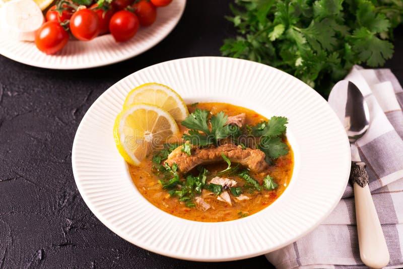 Εβραϊκός γάμος και holyday Yemenite σούπα Marak Temani βόειου κρέατος στοκ εικόνα