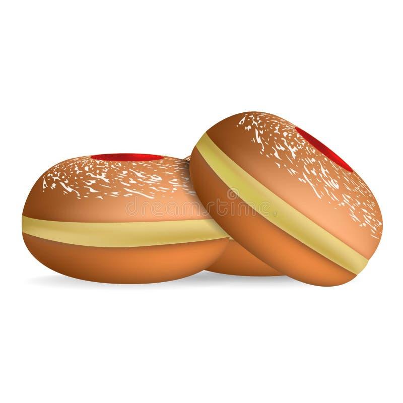 Εβραϊκό γλυκό εικονίδιο αρτοποιείων, ρεαλιστικό ύφος διανυσματική απεικόνιση