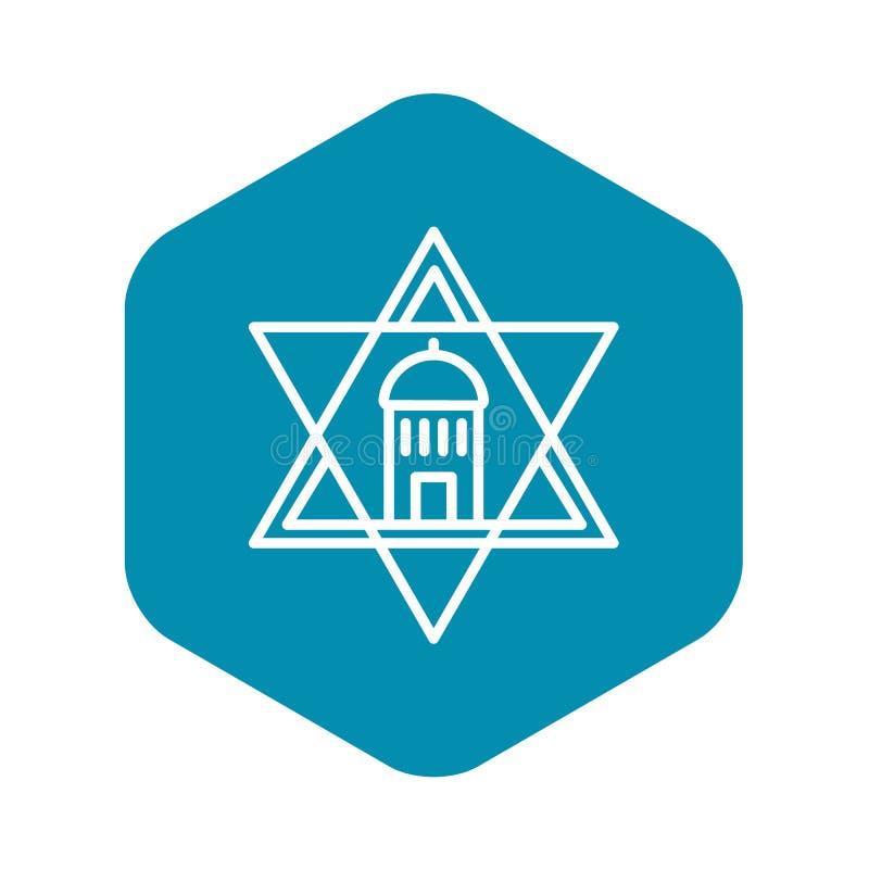 Εβραϊκό εικονίδιο αστεριών ναών, ύφος περιλήψεων ελεύθερη απεικόνιση δικαιώματος