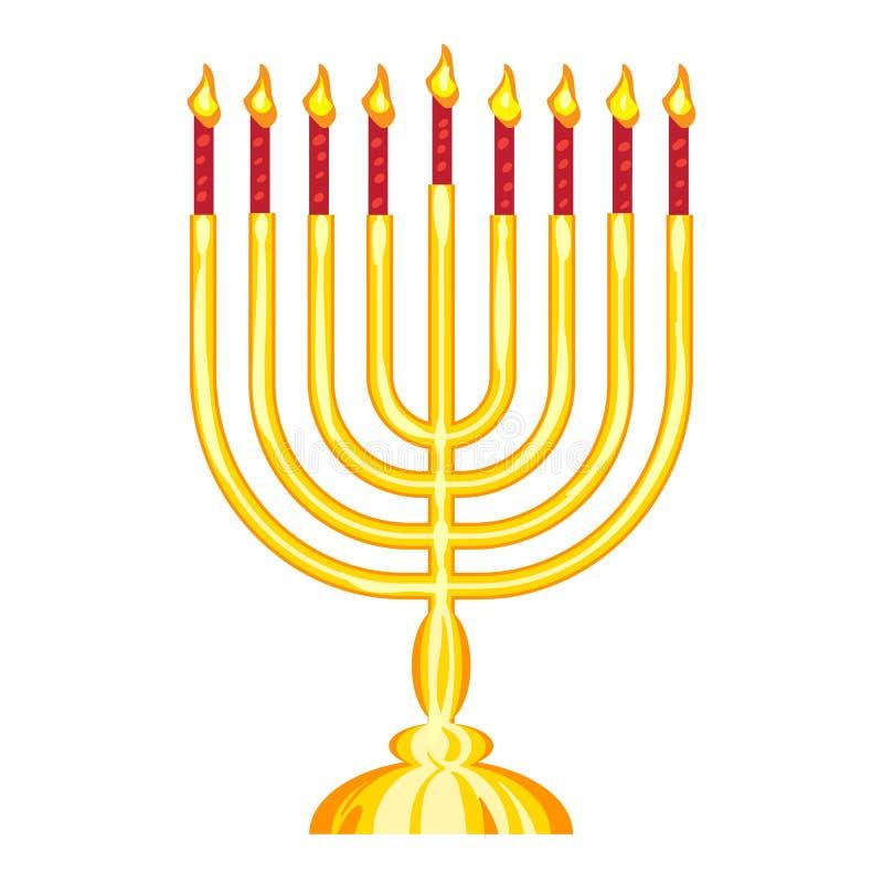 Εβραϊκό εικονίδιο menorah, ύφος κινούμενων σχεδίων απεικόνιση αποθεμάτων