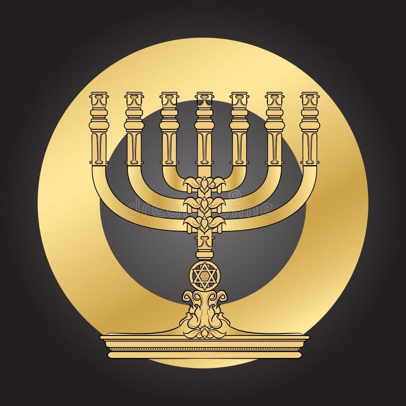 Εβραϊκό κηροπήγιο Menorah κομψός χαιρετισμός καρτών απεικόνιση αποθεμάτων