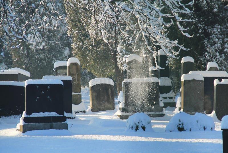 Εβραϊκό νεκροταφείο το χειμώνα στοκ φωτογραφία