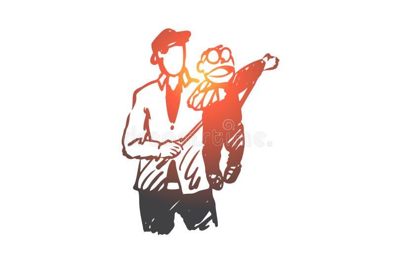 Εγγαστρίμυθος, άτομο, ομοίωμα, έννοια απόδοσης Συρμένο χέρι απομονωμένο διάνυσμα απεικόνιση αποθεμάτων
