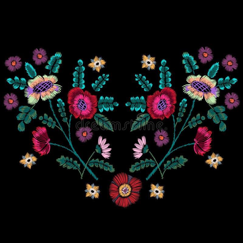 Εγγενές σχέδιο κεντητικής με τα εθνικά λουλούδια ελεύθερη απεικόνιση δικαιώματος