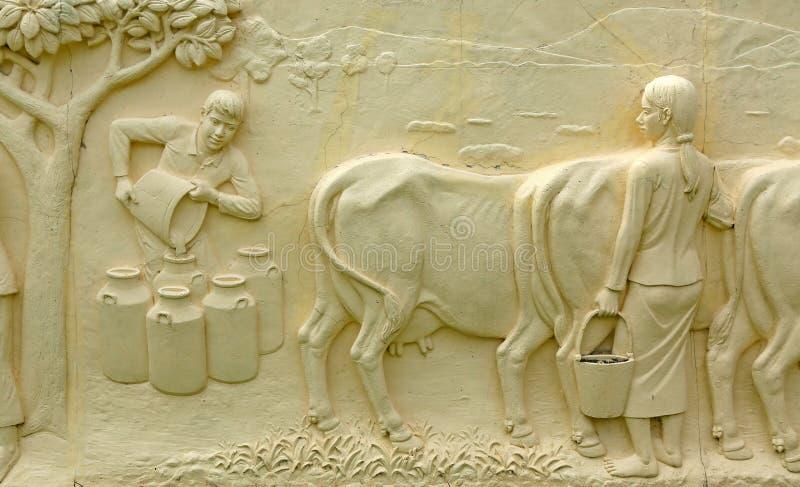 Εγγενής ταϊλανδική χάραξη πετρών πολιτισμού στον τοίχο ναών στοκ εικόνες με δικαίωμα ελεύθερης χρήσης