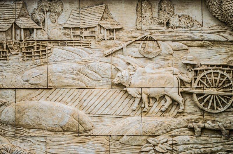 Εγγενής ταϊλανδικός στόκος καλλιέργειας στον τοίχο ναών στοκ εικόνες